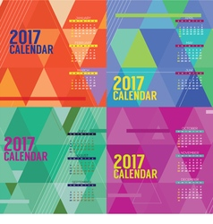 Modern abstract 2017 printable calendar starts vector