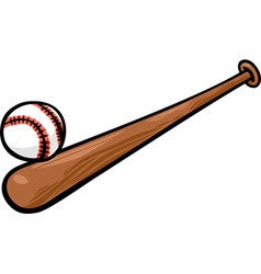 Baseball ball and bat cartoon clip art vector