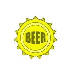 Beer bottle cap icon in cartoon style vector image