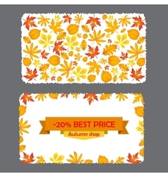 Card with discount of 20 percent autumn flyer vector