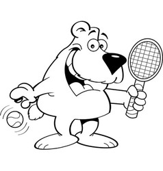 Cartoon Bear Holding a Tenis Racket vector image vector image