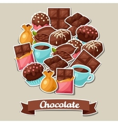 Chocolate background with various tasty sweets and vector image