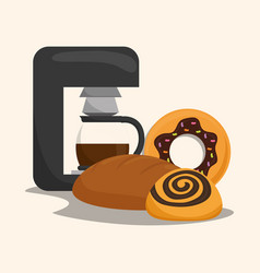 Coffee maker products bakery vector