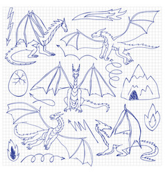 dragons doodle set vector image vector image