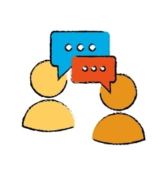 Drawing two character speech bubble message media vector