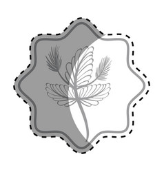 Emblem rustic flower decoration design vector