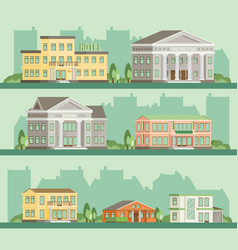 flat buildings hotel restaurant bank museum home vector image vector image