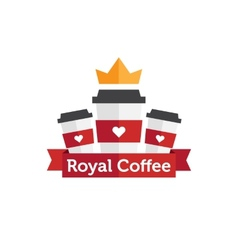Flat coffee shop or cafe logo vector