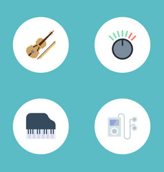 flat icons knob mp3 player fiddle and other vector image vector image