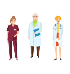 flat male female doctor nurse characters vector image