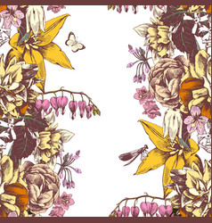 floral background with garden flowers vector image