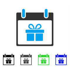 Gift box calendar day flat icon vector