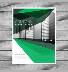 Green brochure design with abstract geometric vector
