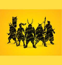 group of samurai warrior pose vector image vector image