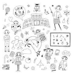 Hand drawn set for school design vector image vector image