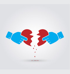 Hands breaking heart vector