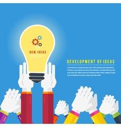 Hands with lightbulb idea vector