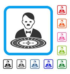 Hitler roulette croupier framed icon vector