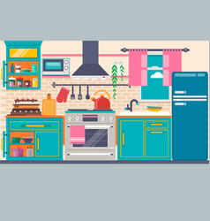 Kitchen interior with furniture utensils food vector