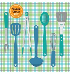 Kitchen utensils icons set on blue and green plaid vector