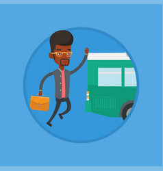 latecomer man running for the bus vector image vector image