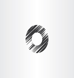 Letter o black scratched icon vector