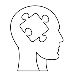 man head silhouette with puzzle piece icon vector image vector image