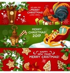 Merry Christmas and Happy New Year banner set vector image