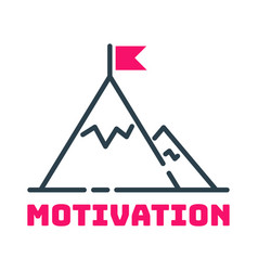 Motivation concept flag on mountain top icon vector