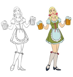 Oktoberfest - girl with beer vector
