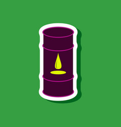 Paper sticker on stylish background barrel of oil vector