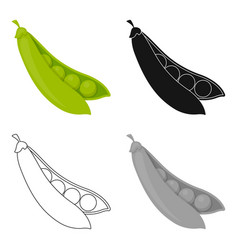 peas icon cartoon singe vegetables icon from the vector image