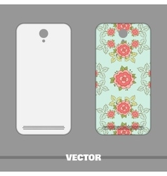 Phone cover roses on blue vector