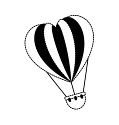 romantic travel in balloon air hot with heart vector image vector image