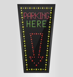 Shining retro light banner parking here vector