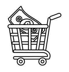 shopping cart online bill money outline vector image