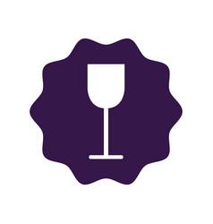 Sticker tasty wine glass icon vector