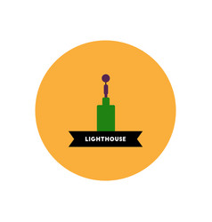 Stylish icon in color circle building lighthouse vector