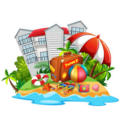 Summer theme with beach and hotel vector