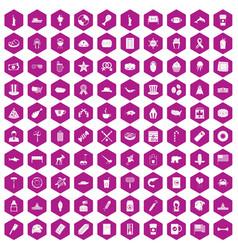 100 usa icons hexagon violet vector