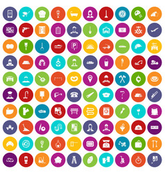 100 working professions icons set color vector image vector image