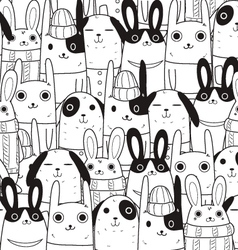 rabbit seamless pattern c vector image