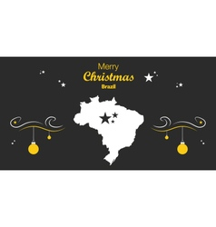 Brazil merry christmas map black vector