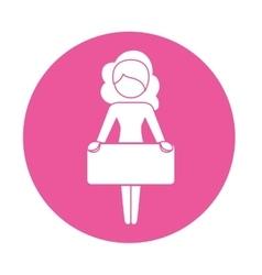 Emblem woman defending rights of women vector