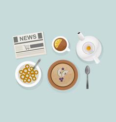 healthy breakfast food top view vector image