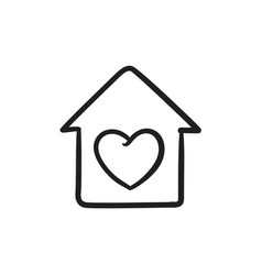 House with heart symbol sketch icon vector