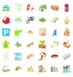 Skyline icons set cartoon style vector