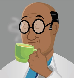 Man drinking tea vector