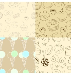 Seamless patterns with sweets vector