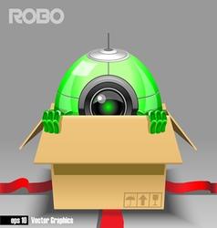 3d green robo eyeborg exiting from a brown box vector